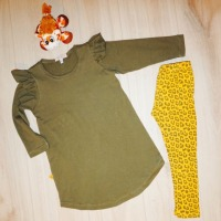 Flutter Sweatshirt Dress met panterprint legging