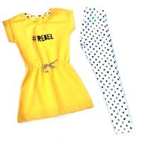 Okergeel #REBEL jurkje & hartjes legging