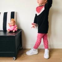 Gekocht jurkje met handmade legging